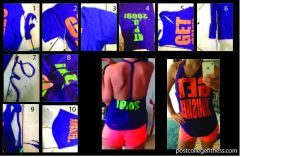 make your own workout tank top, DIY tank top, old T-shirt, up-cycling, cut tank top